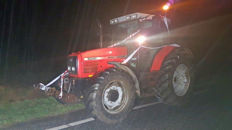 Polakken blev standset i sin færd i denne traktor. Foto: Allan Andersen