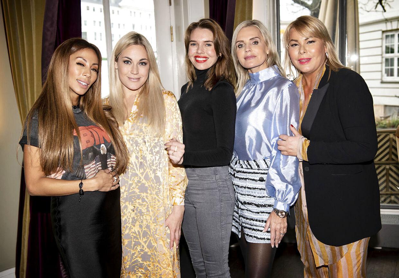 Forsidefruerne Jackie Navarro, Amalie Szigethy, Gunnvør Dalsgaard, Janni Ree og Karina von d'Ahé til pressemøde på den nye sæson af Forsidefruerne.