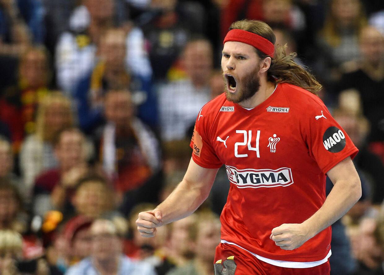 IHF Handball World Championship - Germany & Denmark 2019 - Semi Final - Denmark v France - Barclaycard Arena, Hamburg, Germany - January 25, 2019 Denmark's Mikkel Hansen celebrates during the match REUTERS/Fabian Bimmer