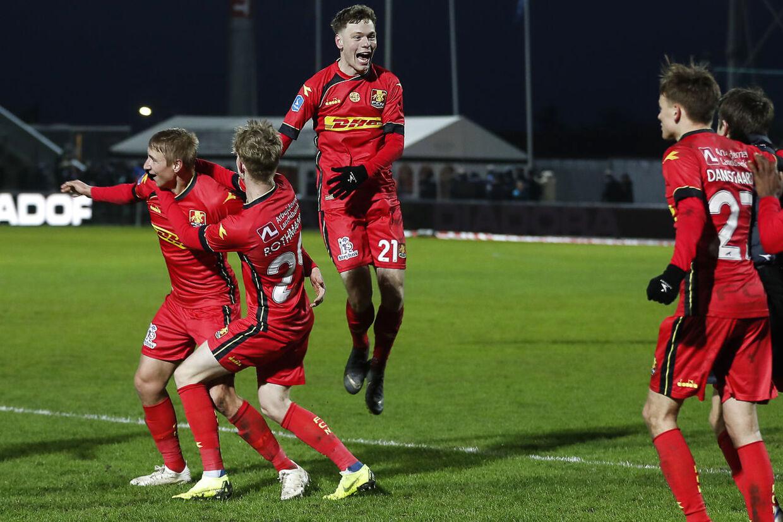 Andreas Skov Olsen (nr. 21) er Superligaens mest scorende teenager nogensinde. Onsdag aften fortsatte han sine imponerende takter.