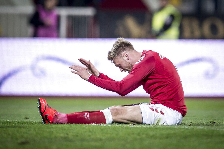 Danmarks Nicolai Jørgensen (9) under venskabskampen mellem Kosovo og Danmark på Vokrri Stadium i Pristina i Kosovo torsdag den 21. marts 2019.