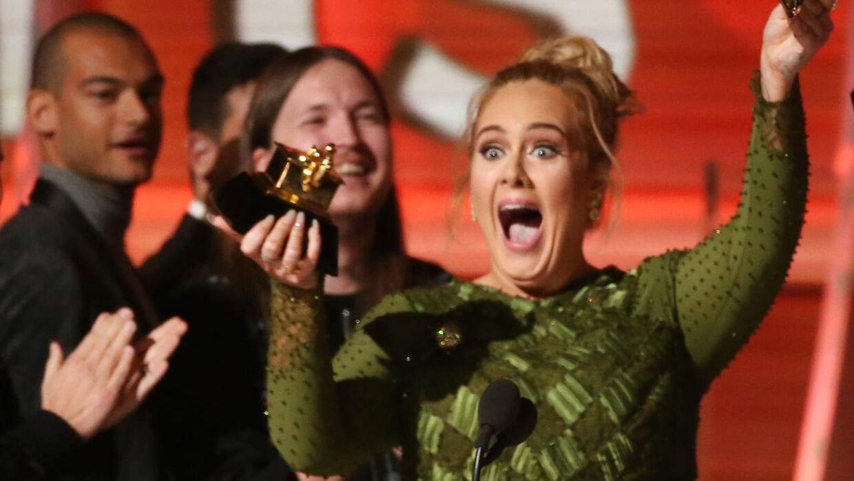 I 2017 vandt Adele fem Grammyer. Det var det hidtidige højdepunkt i hendes karriere. (Scanpix)