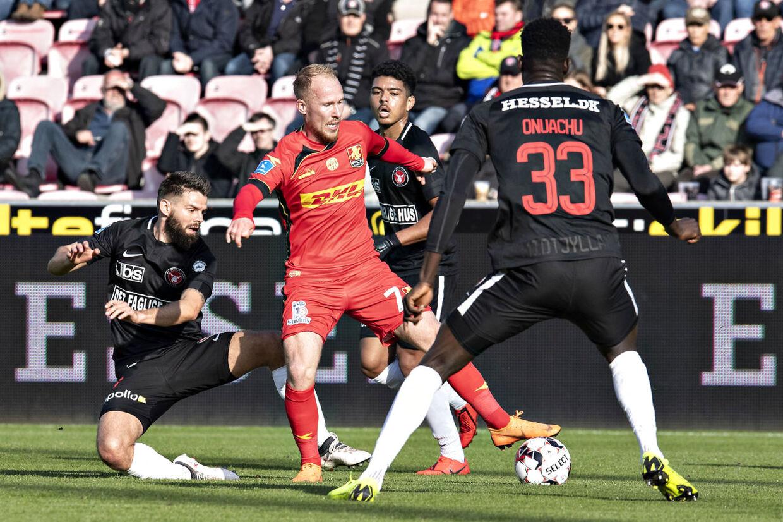 Superligafodbold, FCM vs. FCN. Marc Dal Hende, Mikkel Rygaard, Evander Ferreiira og Paul Obnuachu. Herning , lørdag den 30. marts 2019. (Foto: Jens Nørgaard Larsen/Scanpix 2019)