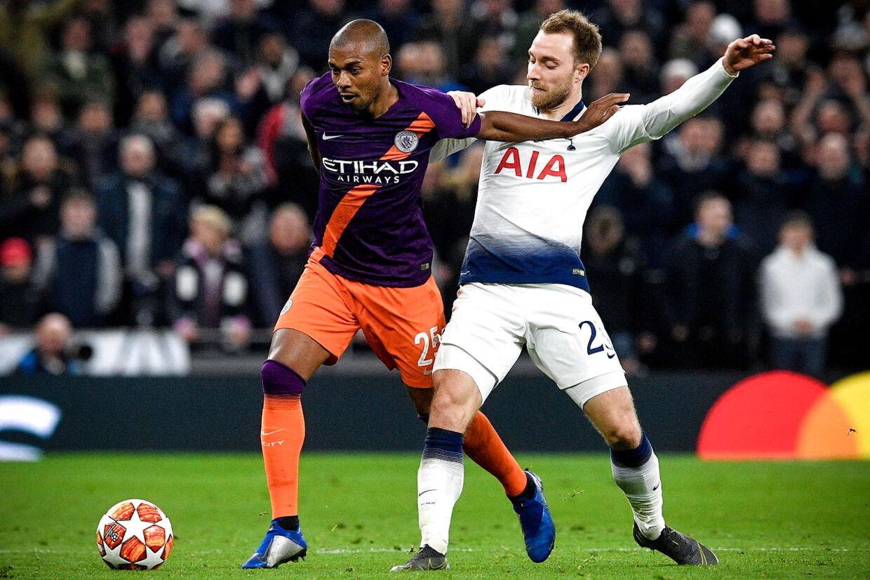 Christian Eriksen og Tottenham spillede tirsdag kvartfinale i Champions League, hvor Manchester City blev besejret 1-0 i den første af to kampe.