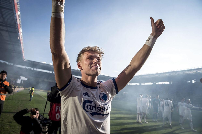 FC Københavns Viktor Fischer jubler efter Superligakampen mellem Brøndby IF og FC København på Brøndby Stadion i Brøndby, søndag den 14. april 2019. FCK vinder kampen 1-2.. (Foto: Mads Claus Rasmussen/Ritzau Scanpix)
