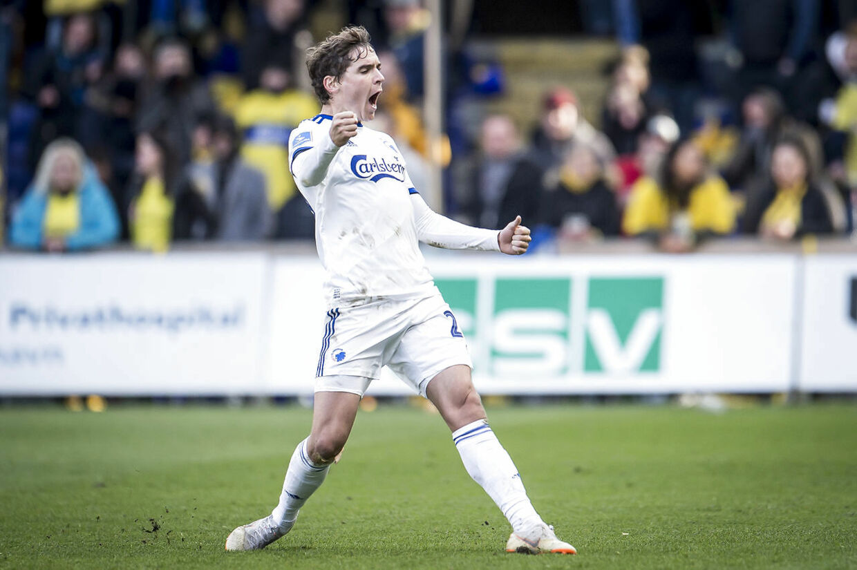 FC Københavns Robert Skov jubler efter scoring til 1-1 under Superligakampen mellem Brøndby IF og FC København på Brøndby Stadion i Brøndby, søndag den 14. april 2019.. (Foto: Mads Claus Rasmussen/Ritzau Scanpix)