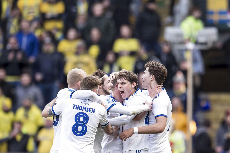 FC Københavns spillere jubler efter scoring til 1-1 under Superligakampen mellem Brøndby IF og FC København på Brøndby Stadion i Brøndby, søndag den 14. april 2019.. (Foto: Mads Claus Rasmussen/Ritzau Scanpix)