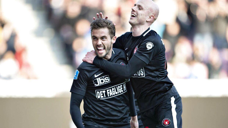 FC Midtjyllands Jakob Poulsen scorede på straffespark i opgøret.