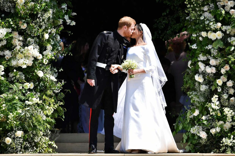Prins Harry og hertuginde Meghan på deres bryllupsdag.