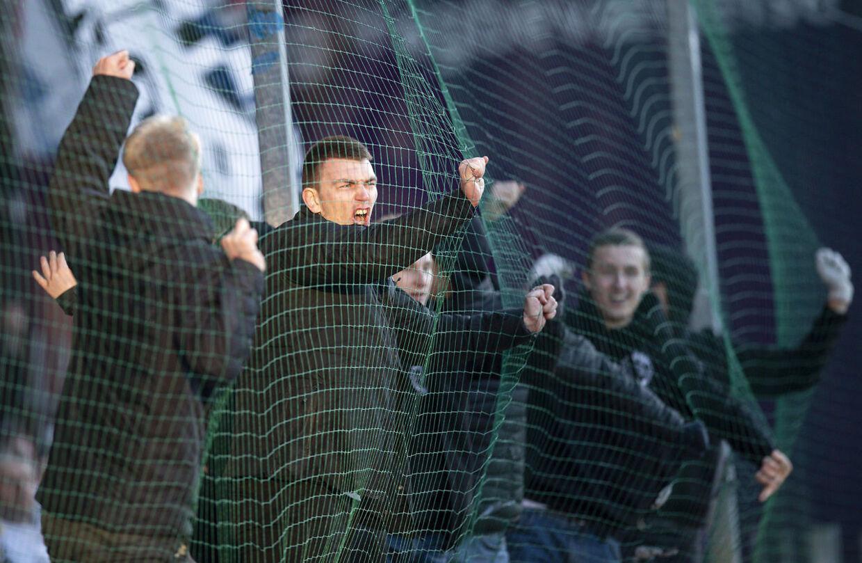 AGF jubel efter scoring til 0 - 1 Superliga Fodbold Sønderjyske mod AGF. Mandag den 15 april 2019. Sydbank Arena Haderslev.. (Foto: Claus Fisker/Ritzau Scanpix)