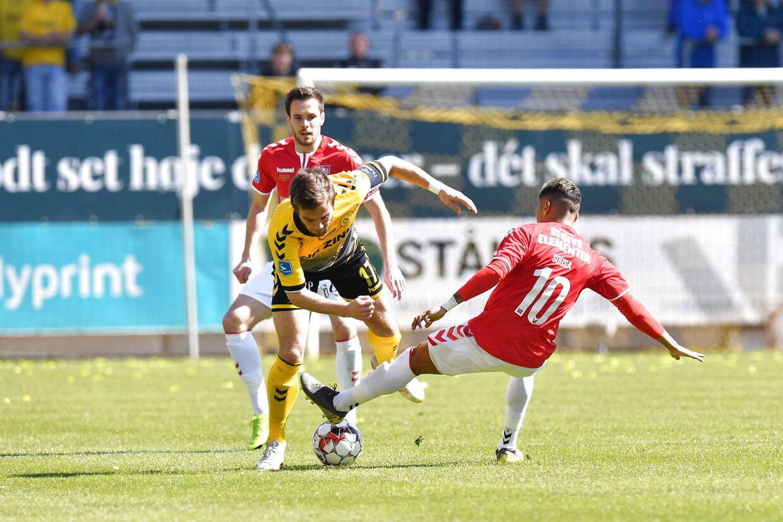 Superligafodbold på casa Arena AC Horsens - Vejle Boldklub. Torsdag 18 April , 2019