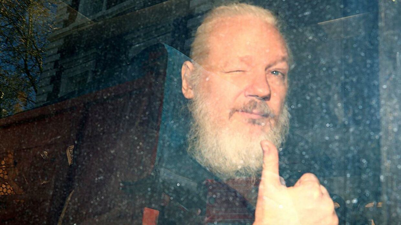 Sådan så det ud, da Julian Assange ankom til Westminster Magistrates Court efter sin anholdelse i London.
