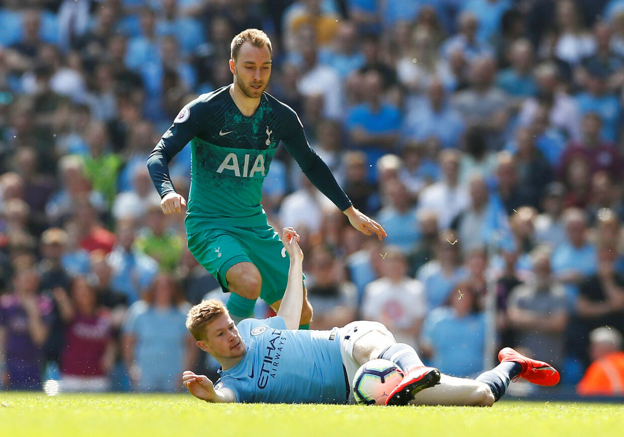 """Soccer Football - Premier League - Manchester City v Tottenham Hotspur - Etihad Stadium, Manchester, Britain - April 20, 2019 Tottenham's Christian Eriksen in action with Manchester City's Kevin De Bruyne Action Images via Reuters/Jason Cairnduff EDITORIAL USE ONLY.No use with unauthorized audio, video, data, fixture lists, club/league logos or """"live"""" services. Online in-match use limited to 75 images, no video emulation.No use in betting, games or single club/league/player publications. Please contact your account representative for further details."""