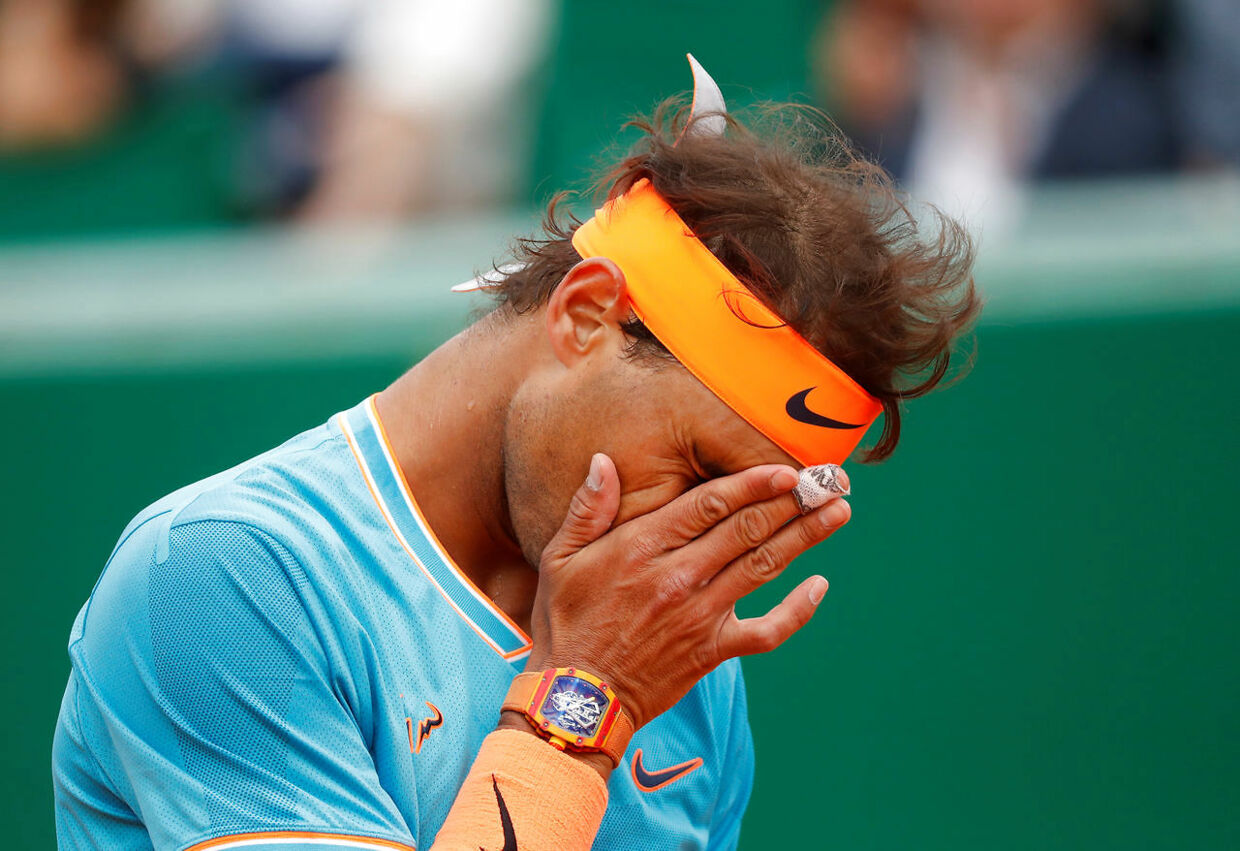 Tennis - ATP 1000 - Monte Carlo Masters - Monte-Carlo Country Club, Roquebrune-Cap-Martin, France - April 20, 2019 Spain's Rafael Nadal reacts during his semi final match against Italy's Fabio Fognini REUTERS/Eric Gaillard