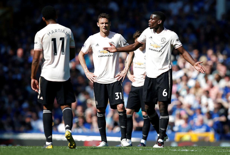 Frustrerede Mancheste4r United-spillere i kampen mod Everton.