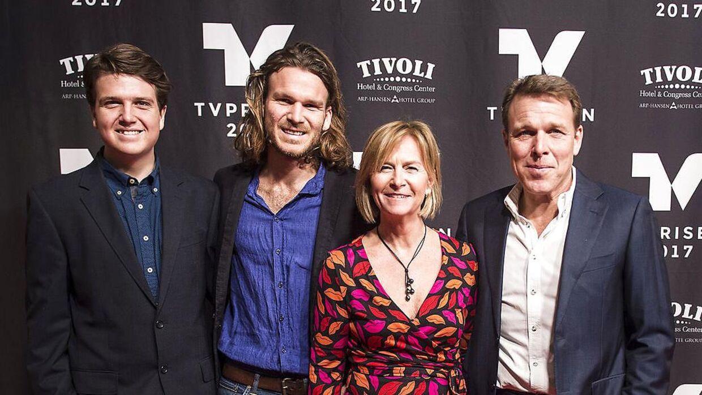 Familien Beha Erichsen, fra venstre Theis, Emil, Marian og Mikkel