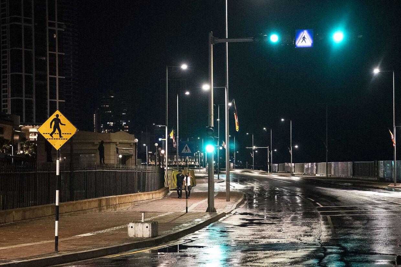 Sri Lanka Hovedstaden Colombo Gaderne ligger øde hen.