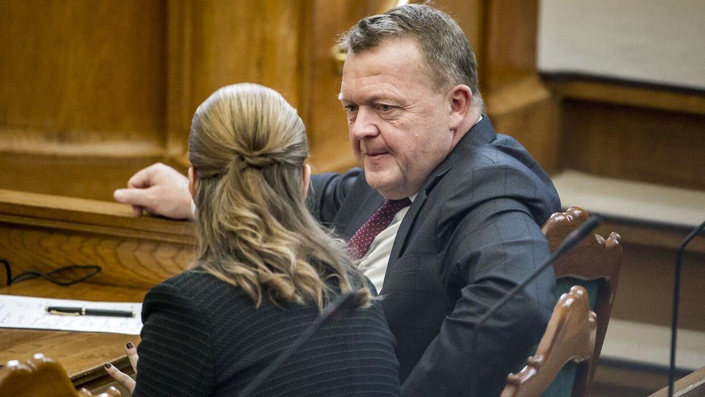 Mette Frederiksen (S) og Statsminister Lars Løkke Rasmussen (V) under folketingets åbningsdebat i folketingssalen på Christiansborg, torsdag den 4. oktober 2018.