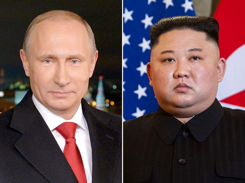 Den russiske præsident Vladimir Putin og Nordkoreas leder Kim Jong Un.