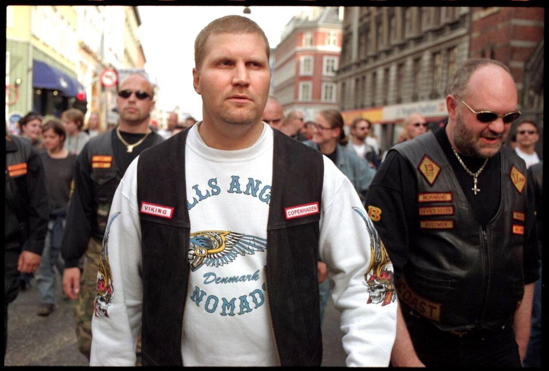 Lederen af rockerklubben Hells Angells, Jørn 'Jønke' Nielsen, fotogrageret under et optog i 1998.