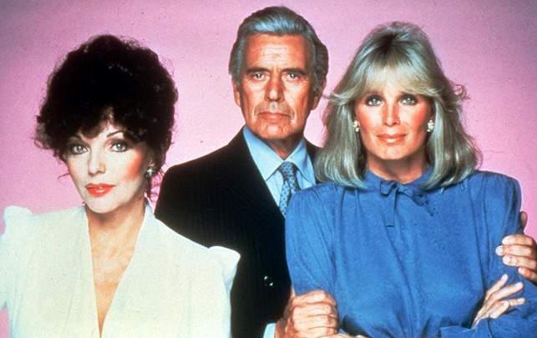 Joan Collins, John Forsythe og Linda Gray. Den sprængfarlige trekløver fra tv-serien 'Dollars' eller 'Dynasty', som den hed på amerikansk.