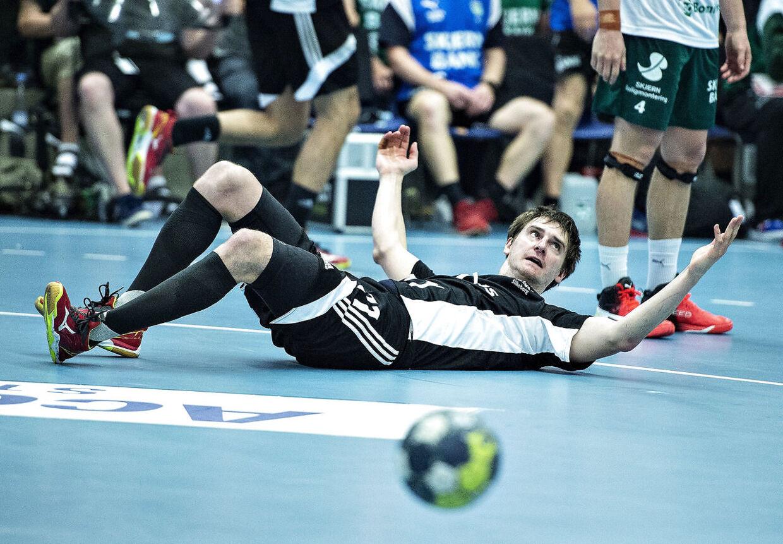 Sebastian Skube under DM-finalen i herrehåndbold mellem Bjerringbro-Silkeborg og Skjern Håndbold.