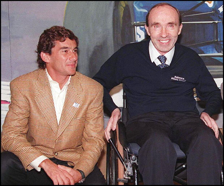 Ayrton Senna og Frank Williams i 1994. Grand Prix'et på Imola betragtes som den mest tragisk weekend i Formel 1-historien, da østrigeren Roland Ratzenberger mistede livet i en ulykke dagen før Senna. De to var gode venner.