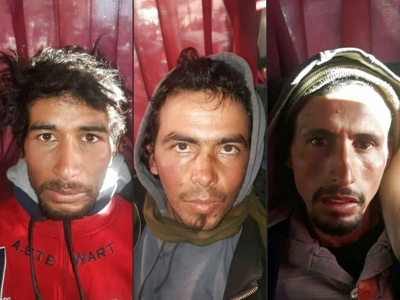 De hovedmistænkte IS-ekstremister (fra venstre) Rachid Afatti, Ouziad Younes og Ejjoud Abdessamad risikerer dødsstraf i retssagen mod dem. De blev anholdt i Marrakech tre døgn efter de bestialske knivdrab på Louisa Vesterager Jespersen og Maren Ueland.