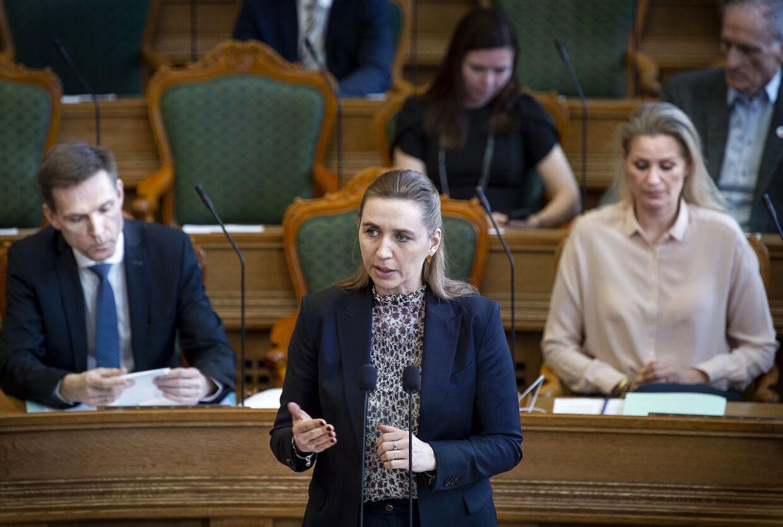 Mette Frederiksen (S) ved møde i Folketingssalen, som indledes med statsminister Lars Løkke Rasmussens (V) spørgetime, tirsdag den 26. marts 2019.. (Foto: Liselotte Sabroe/Ritzau Scanpix)