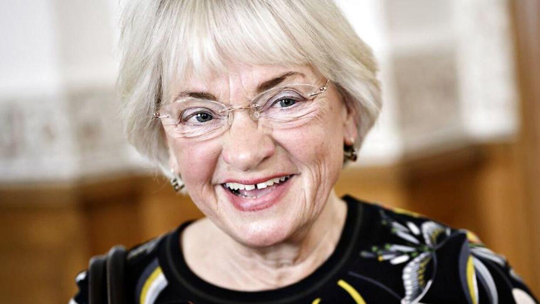 Pia Kjærsgaard (DF) på Christiansborg, efter statsminister Lars Løkke Rasmussen (V) har udskrevet folketingsvalg til afholdelse på grundlovsdag 5. juni.