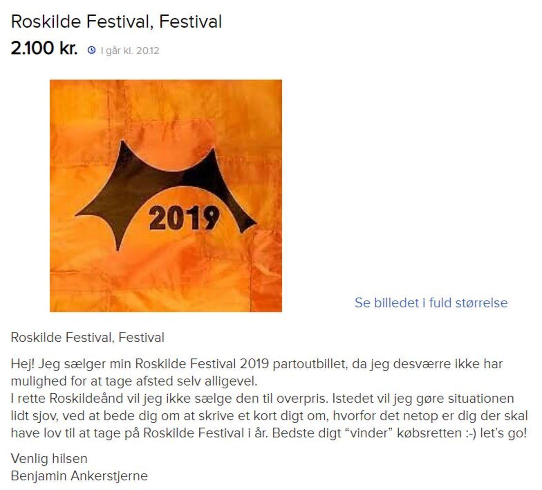 Annoncen Benjamin Ankerstjerne lagde på Den blå avis tirsdag.