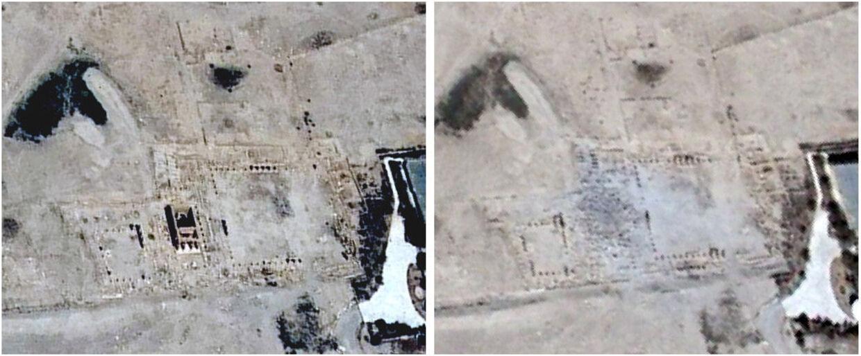 Til venstre: Satellitfoto af templet i ørkenbyen Palmyra i Syrien taget d. 26. juni 2015 før ødelæggelsen. Til højre: Satellitfoto taget samme sted 27. august 2015 efter ødelæggelsen.