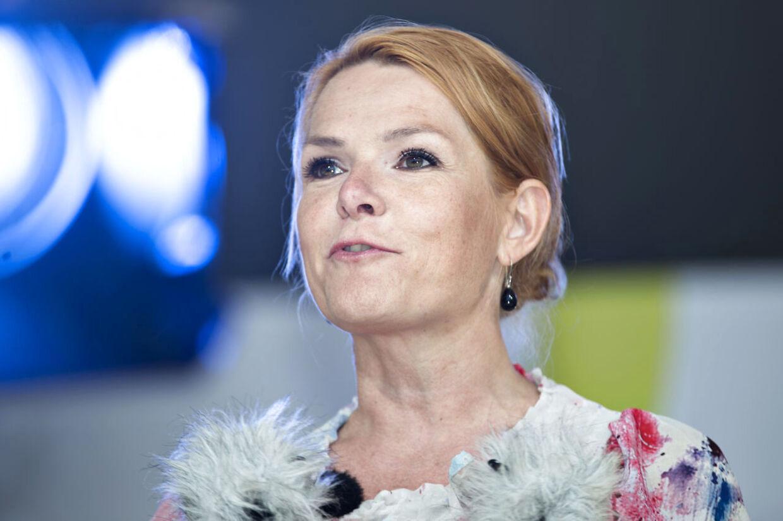 Inger Støjberg inden Lars Løkke Rasmussens tale på hovedscenen i Allinge under folkemødet på Bornholm lørdag 14. juni 2014.