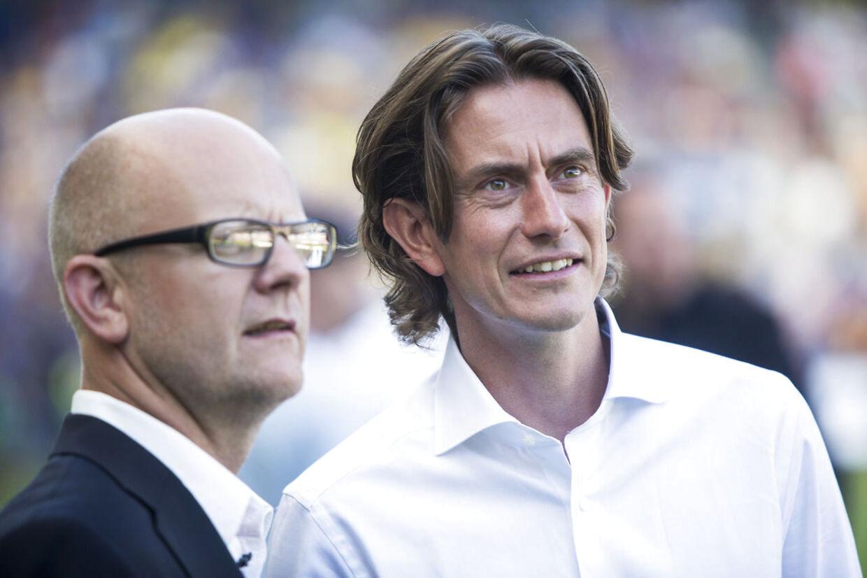 Sportsdirektør i Brøndby, Per Rud, flankeret af Brøndbys cheftræner Thomas Frank (th.) Arkivfoto
