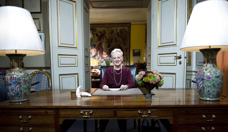 Dronning Margrethe holder sin nytårstale i Christian IXs palæ på Amalienborg mandag den 31. December. (Foto: Keld Navntoft/Scanpix 2012)