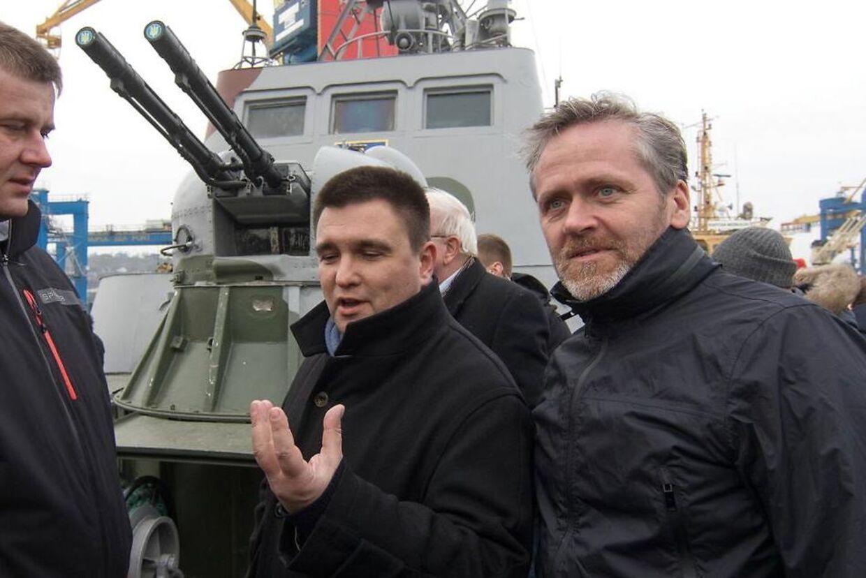 Ukranines udenrigsminister, Pavlo Klimkin, under et møde med den danske udenrigsminister, Anders Samuelsen. EPA/SERGEEY VAGANOV