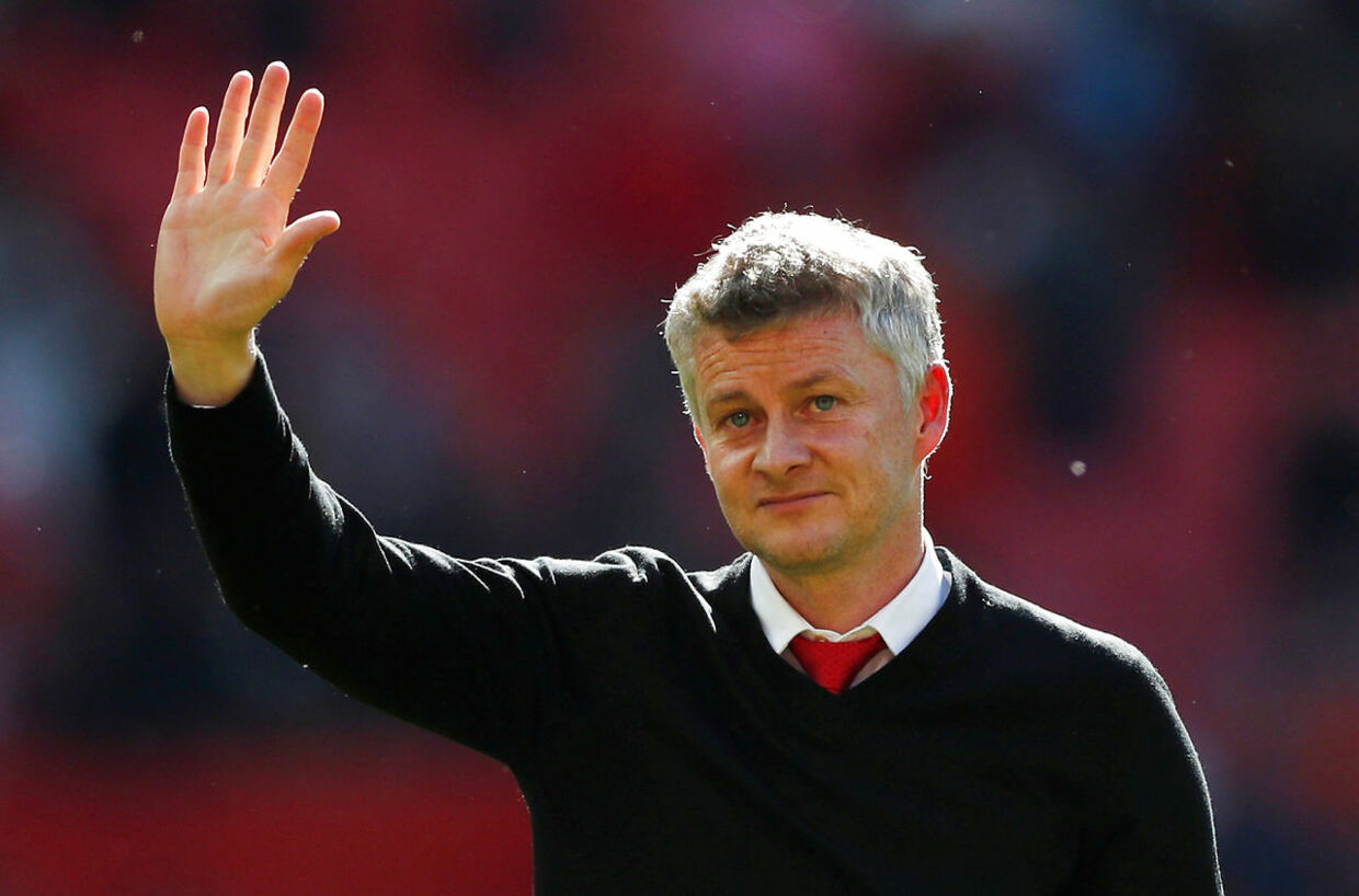 """Soccer Football - Premier League - Manchester United v Cardiff City - Old Trafford, Manchester, Britain - May 12, 2019 Manchester United manager Ole Gunnar Solskjaer gestures to fans after the match Action Images via Reuters/Lee Smith EDITORIAL USE ONLY.No use with unauthorized audio, video, data, fixture lists, club/league logos or """"live"""" services. Online in-match use limited to 75 images, no video emulation.No use in betting, games or single club/league/player publications. Please contact your account representative for further details."""
