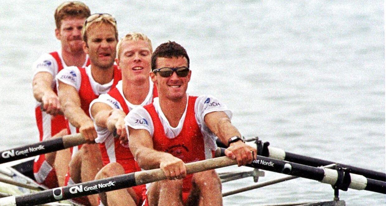 Victor Feddersen, forrest, sammen med Eskild Ebbesen, Thomas Poulsen og Thomas Ebert i 'Guldfireren' ved VM i1999.