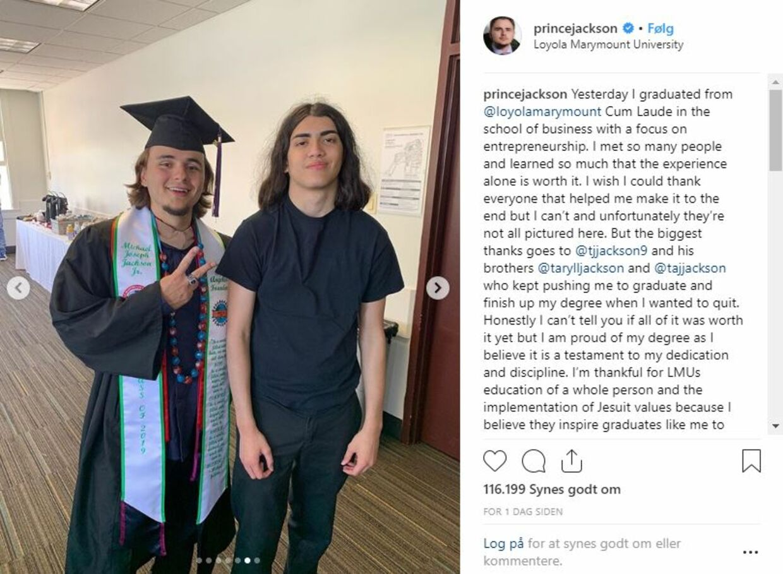 Screenshot fra Prince Jacksons Instagram.