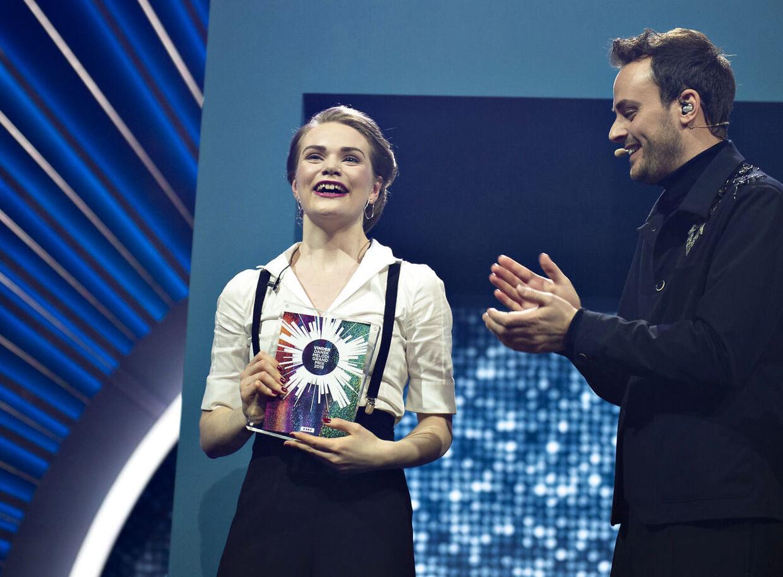 Sådan så det ud, da Leonora vandt det danske Melodi Grand Prix i februar.