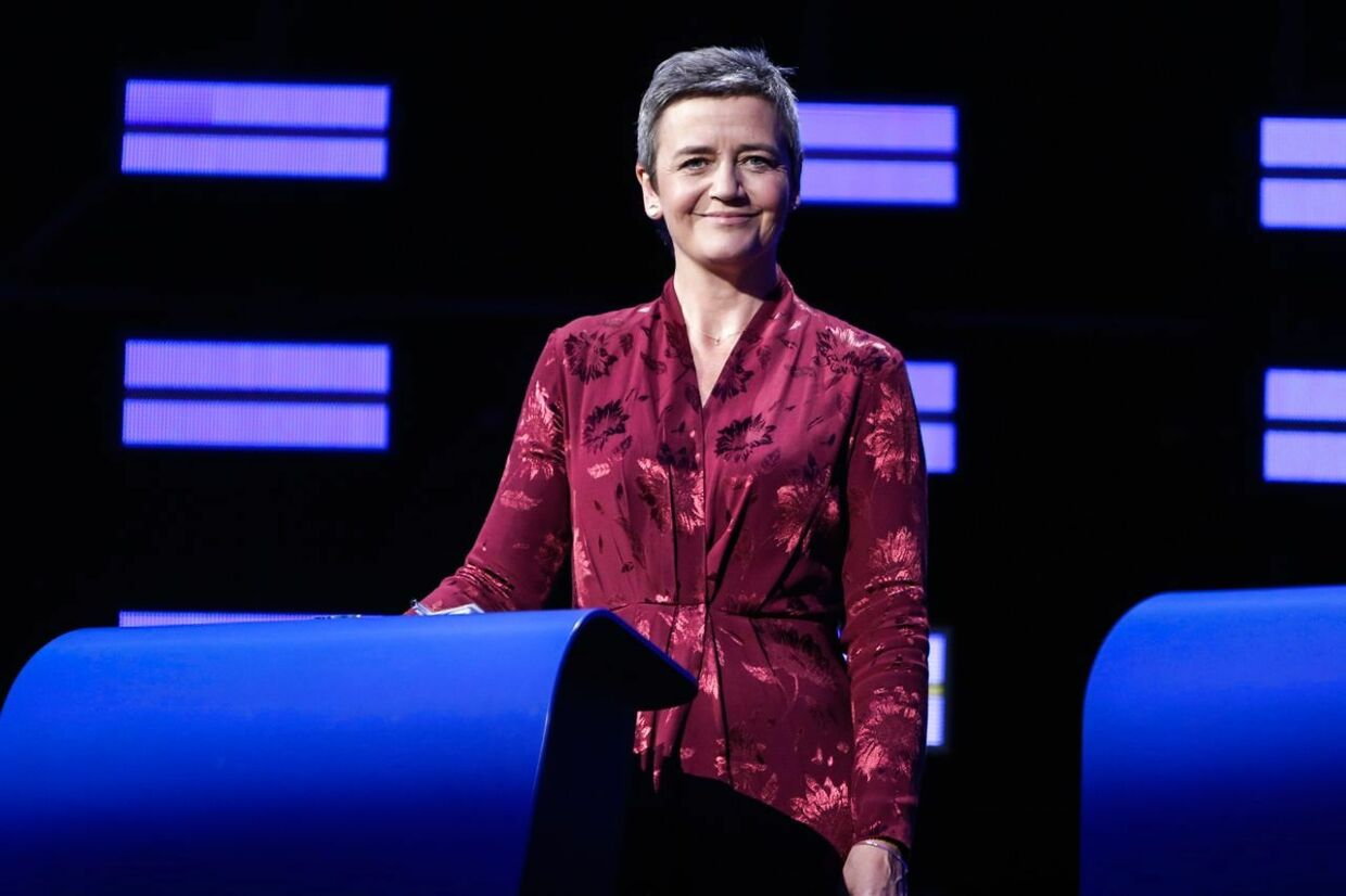 Danish candidate for the upcoming European Commission president elections Margrethe Vestager of Alliance of Liberals and Democrats for Europe (ALDE) looks on ahead of the Eurovision presidential debate at the European Parliament in Brussels, Belgium, on May 15, 2019. (Photo by Aris Oikonomou / AFP)