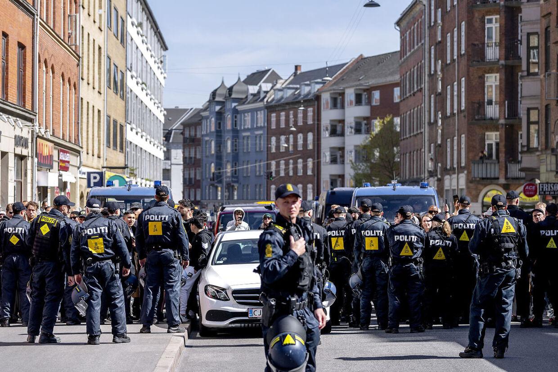 FV19. Rasmus Paludan fra Stram Kurs demonstrerede onsdag den 15. maj på Nørrebro i København.