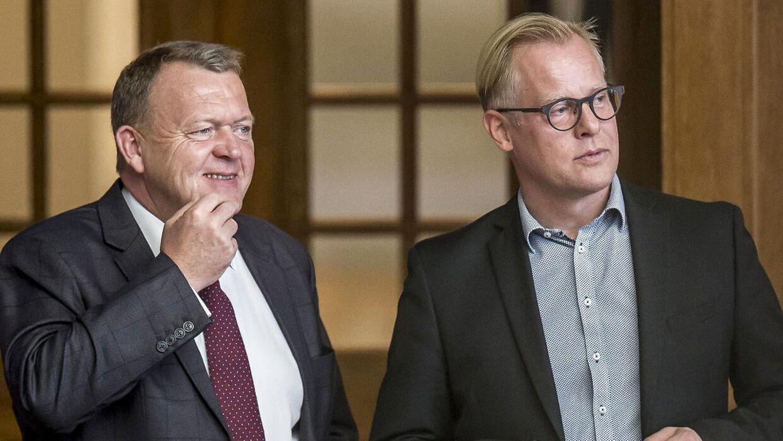 Statsminister Lars Løkke Rasmussen (V) og Carl Holst (V) under åbningsdebatten i Folketinget på Christiansborg i København, torsdag den 4. oktober 2018.