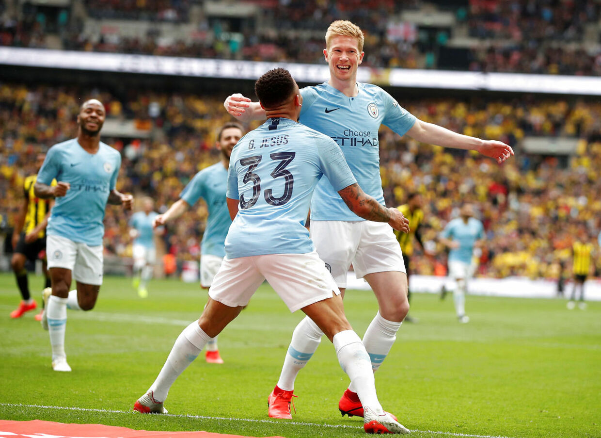 Soccer Football - FA Cup Final - Manchester City v Watford - Wembley Stadium, London, Britain - May 18, 2019 Manchester City's Kevin De Bruyne celebrates scoring their third goal with Gabriel Jesus Action Images via Reuters/John Sibley
