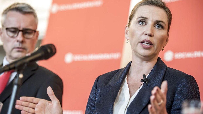 FV19: Mette Frederiksen præsenterer Socialdemokratiets opdaterede 2025-plan 'Gør gode tider bedre – for alle' på et pressemøde i Socialdemokratiets gruppeværelse på Christiansborg, mandag den 20. maj 2019.