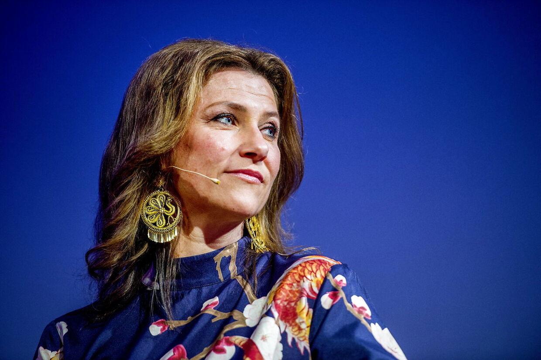 Märtha Louise fotograferet til hendes og Durek Verretts foredrag i Stavanger i Norge mandag i denne uge.