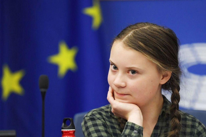 Greta Thunberg fanget under en klimadebat i EU.