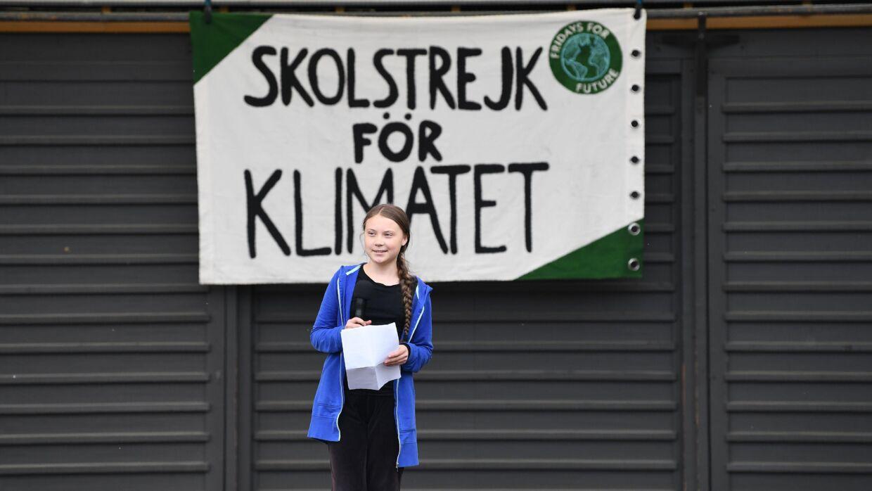 Greta Thunberg har fået unge over hele verden til at strejke til fordel for klimaet. (Photo by Jonathan NACKSTRAND / AFP)