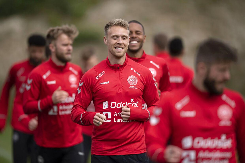 Nicolai Jørgensen til træning med det danske herrelandshold.
