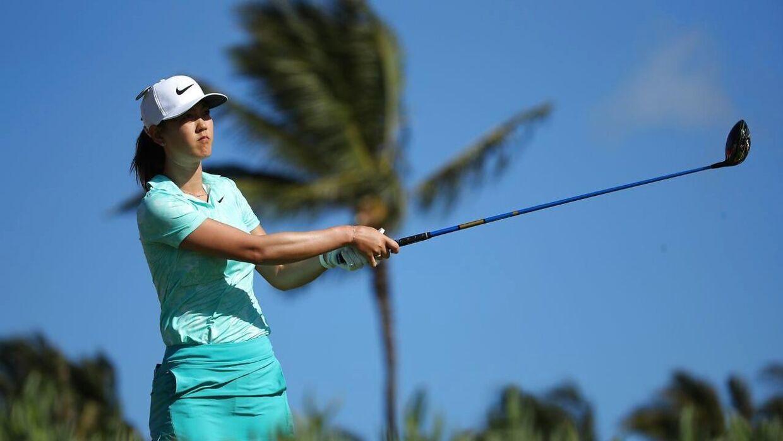 Michelle Wie i aktion i april, inden sin skade.
